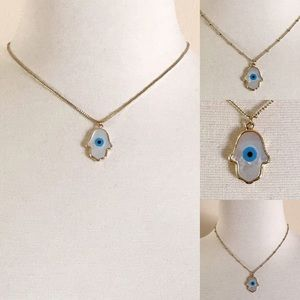 Hamsa Evil Eye 14K Gold Carved Shell Necklace